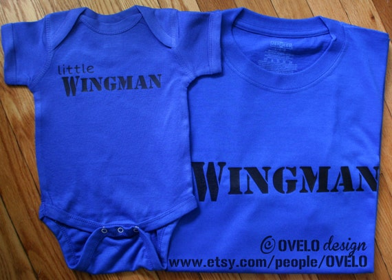 Little Wingman Bodysuit or T shirt and Wingman T shirt for Daddy and son Perfect Fathers Day Gift