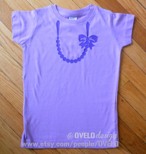 Necklace with Pearls and Bow T-shirt for Girls Pictured in Lavender with Purple Necklace