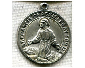 Saint FRANCIS of Assisi Vintage Silver Religious Medal on 18 inch sterling silver rolo chain