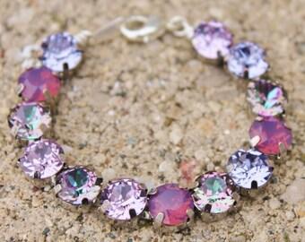 Pastel Purple Rainbow Tennis Bracelet,Swarovski Rhinestone Tennis Bracelet,RARE Vitrail Light,Cyclamen Opal,Lilac,Lavender,Pastel Purple