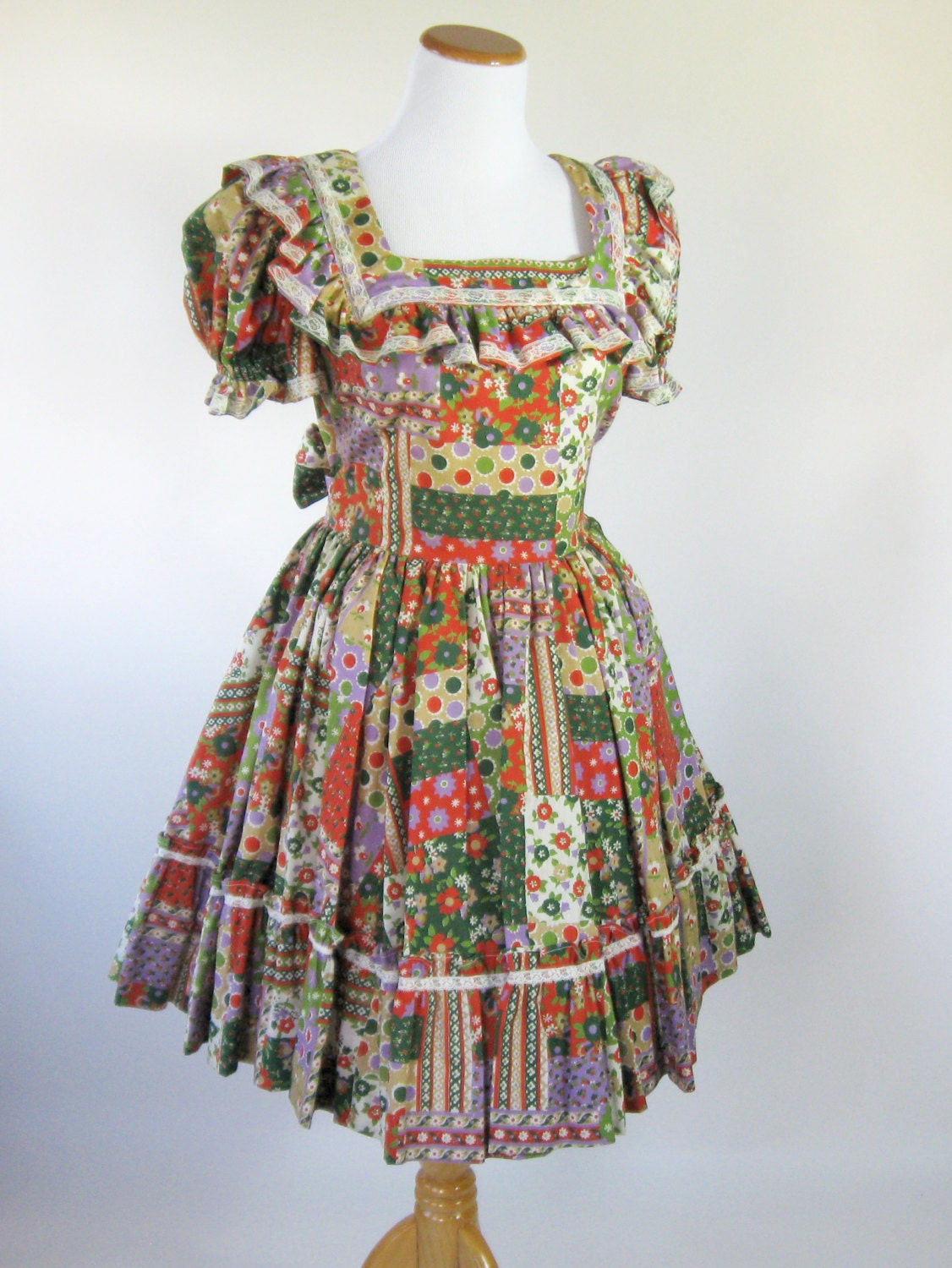 70s Square Dance Dress Country Western Swing Dress Womens