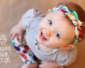 Multicolor Feather STRETCH KNOT HEADBAND Sizes Newborn to 5t