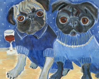 "Pug Art Card, ""Pug Starry Night,"" 5"" x 5"" blank card"