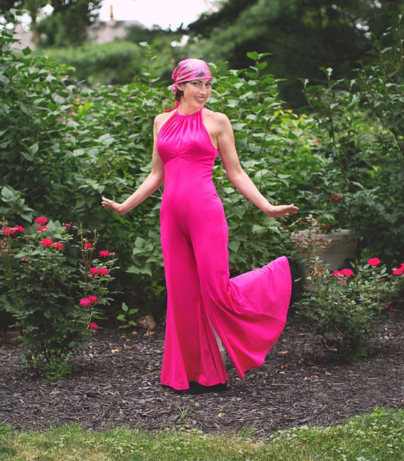 Vintage Jumpsuit Halter Jumpsuit Hot Pink Halter Top