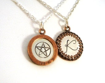 Hidden Pentacle Necklace, Pagan Jewelry, Wiccan Jewelry, Framed Pendant