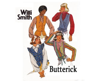 Willi Smith Size 12 Bust 34 Misses Tops 1970s UNCUT sewing Pattern Front Wrap Buttons Peplum Vest Gathered cap long sleeves Butterick 5048