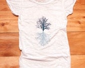 in my shadow Tree Tshirt, Yoga Top, Burnout Tee, White Tee, S,M,L,XL