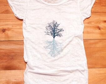 in my shadow Tree Tshirt, Yoga Top, Burnout Tee, White Tee, S,M,L,XL