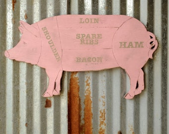 Pig Butcher Diagram Pig Sign Pork Meat Chart Butcher Diagram Meat Cuts Kitchen Wall Art