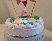 Pink Custom Baby Shower Cake Topper with Bunting. It's a Girl! Baby Shower! - MADE TO ORDER!