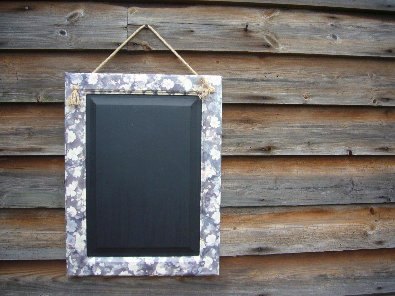 Floral Chalkboard Rustic Home Decor Framed Blackboard
