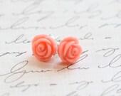 Mini Vintage Coral Rose Earrings - Coral Bridesmaid Earrings - Rose Coral Earrings - Flowergirl Earrings