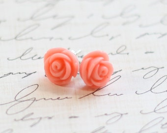 Mini Vintage Coral Rose Earrings - Coral Bridesmaid Earrings - Rose Coral Earrings - Flowergirl Earrings