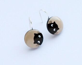 Black cat earrings hand painted wood