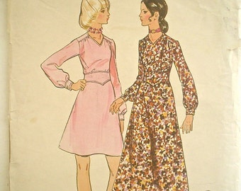Darling Vintage Dress Pattern with Midriff Details 1970s Butterick 5992 Bust 32-1/2