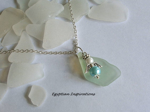 Sea glass necklace. Beach glass jewelry.