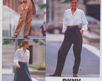 1980s Donna Karan Womens Tapered Pants & Flared Skirt Vogue American Designer Sewing Pattern 2376 Size 12 14 16 Hip 36 38 40 UnCut