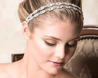 Bridal Headband, Swarovski Crystal Wedding Headband, Vintage Style Hair Accessories, Double Oval Rhinestone Bridal Headband (CHRISTINE)