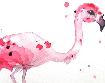 10 x 8 Flamingo Art Print, Flamingo Art, Bathroom Art