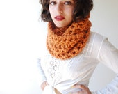 The Beginners Cowl Hand Knit in Apricot Wool Blend