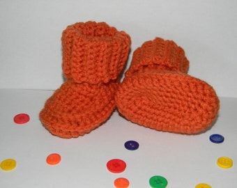 chunky orange baby booties