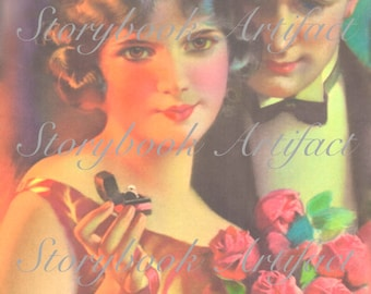 Engaged - Rare Digital Art Print from Early 1900's Advertisement