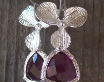 Hypoallergenic Silver Orchid Earrings with Purple Crystal Drops on Titanium Earring Wires
