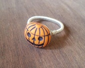 Jack o Lantern Pumpkin Halloween Wire Wrapped Ring