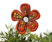 Flower garden art - plant stake - garden marker - garden decor - flower ornament - ceramic flower - dots - red and yellow