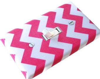 PINK CHEVRON Light Switch Cover Plate Switchplate Nursery Decor
