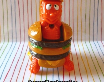 McDonalds Big Mac Hambuger, Happy Meal Toys, The BIG MAC, Changeables, Dinosaur, 1980's, Orange Dinosaur, Kids toys, Food Toys