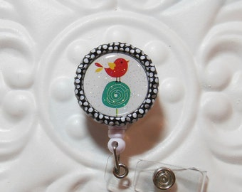 Retractable Badge Holder Bottlecap ID Badge Reel Teacher Lanyard  Cute Bird On Tree