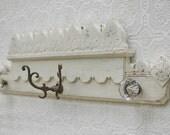 Antique Glass Doorknob Coat Rack on repurposed wooden pediment -Eastlake era