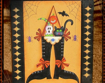 E PATTERN - Halloween Friends in Witch's Boot! Cute & Colorful - Designed by Rhonda Bowers, Painted by Sharon Bond - FAAP
