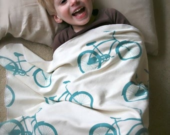 Organic Cruiser Bike Toddler Blanket- You Choose Colors Eco Friendly Natural Child Bicycle Bedding