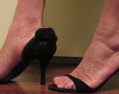 Vintage Black Suede Heels / 50s Dressy Wedding Shoes / Delman Back Bow  Pumps  8 1/2