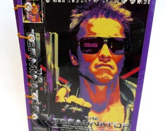 Sketchbook Made from Box of Sci Fi Classic, Terminator, with Purple, Gold, Red Details