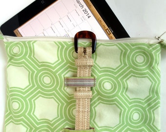 Garden Party Lime Green Bag for iPad, Kindle Fire HD and Nook HD Plus, with Woven Straw Strap