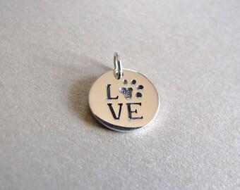 Silver LOVE Paw Print Charm