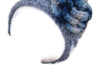 Knit Wide Headband Grey  with Crocheted  Flower  Girls Headwarmer School time, school headband
