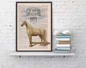 Fabulous Unicorn Printed on Vintage Book sheet - Wall art home decor, gift for her, grils room, unicorn geek art BPAN212b