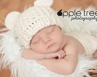 Crochet Pattern for Baby Bear Beanie Hat - 5 sizes, baby to adult - Welcome to sell finished items