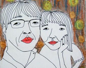Custom Couple Portrait - 2 person custom portrait