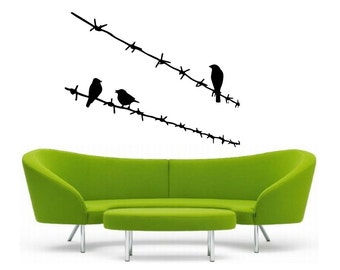 Birds on Barbed Wire vinyl Wall DECAL-  interior design, sticker art, room, home and business decor