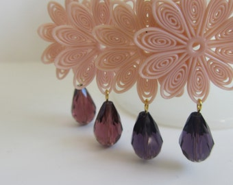 Retro Flower Dangle Earrings in Pink and Purple