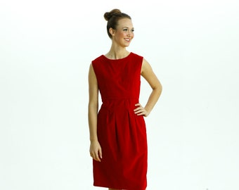 1960s Red Velvet Dress/ Holiday Christmas Dress/ Shift Dress