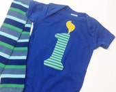 Boy First Birthday Number 1 Candle Short Sleeve One Piece Blue and Blue Baby Leg Warmers