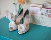 Wedding shoes peep toe low heel and high heel bridal shoes embellished with ivory French lace, white silk flower, crystals and pearls