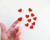 Crochet Heart Appliques, Juicy Orange, Set of 10, Valentines Day Heart Love Motif, Scrapbooking, Party Decorations, Orange Halloween Heart