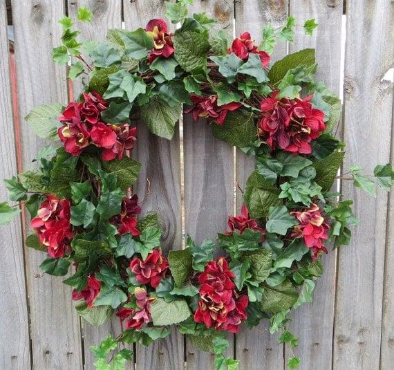 Hydrangea Wreath, Burgundy Hydrangea Wreath with Ivy, Home Interior, Interior Color, Simple Realistic Wreath